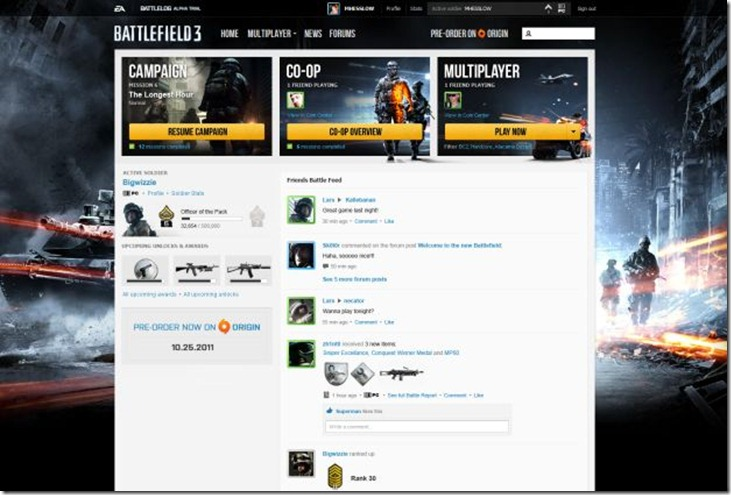 Battlefield 3's New Battlelog System shows face