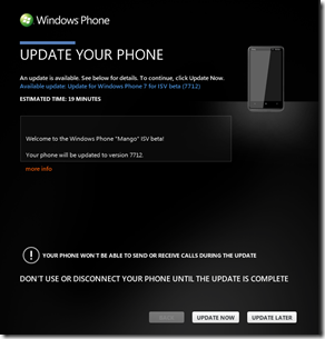 Windows Phone Mango build 7112 update available to developers