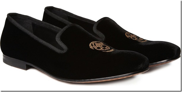 Alexander McQueen Skull Embroidered Velvet Slippers 2