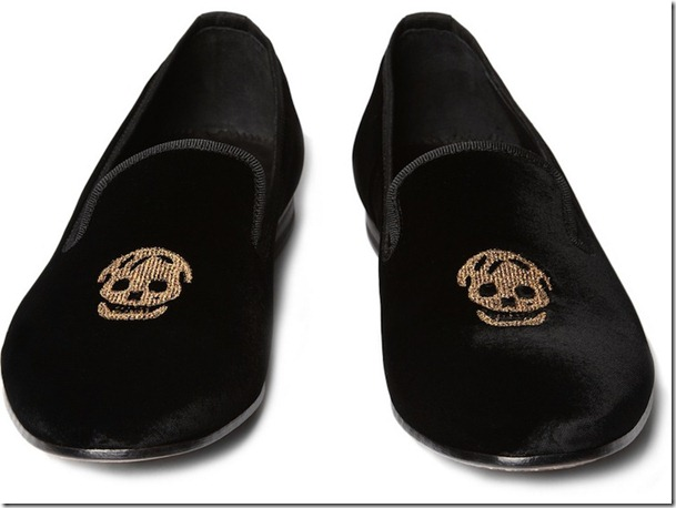 Alexander McQueen Skull Embroidered Velvet Slippers