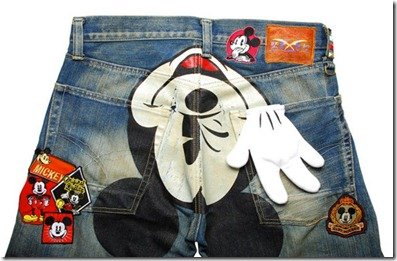 CLOT Dynasty Mickey Mouse Patch Denim