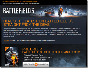 EA Says I have Priority access to the Battlefield 3 beta