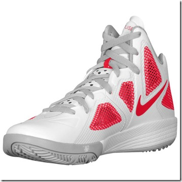 NIKE ZOOM HYPERFUSE 2011 WHITE METALLIC LUSTER-SPORT RED 2