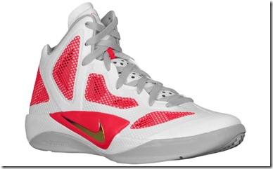 NIKE ZOOM HYPERFUSE 2011 WHITE METALLIC LUSTER-SPORT RED