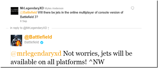 Jets will be in all versions of Battlefield 3