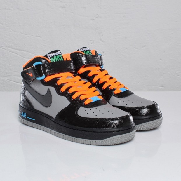 Nike Air Force 1 Mid Gs Black Light Charcoal Blue Glow Halloween