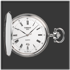 Savonnette White Quartz Pocket Watch & Chain